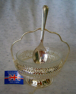 England Mayell Queen Anne Silver Plated Jam Dish with Spoon Set Box Tag Gift