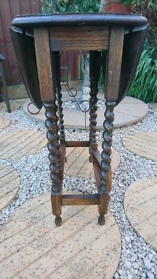 Beautiful Small Antique Oak - Oval Drop Leaf Table - With Barley Twist Legs