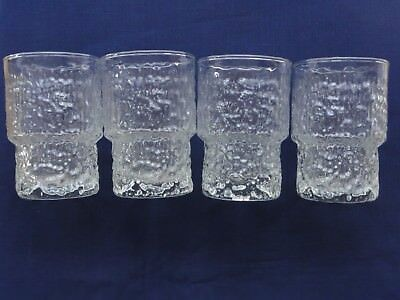 4 Retro Mid-Century Scandinavian Style Glasses, Near New