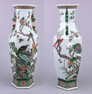 Antique Fine Fam Verte Chinese Porcelain Hexagonal Vase, Birds - 19th Cent.