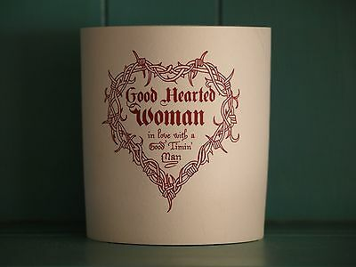 "Vintage Waylon Coolie-""Good Hearted Woman"" cream with maroon lettering"