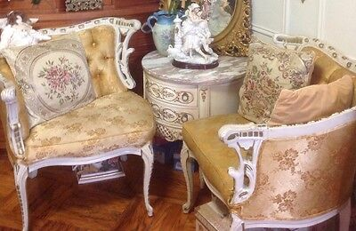 Vintage Antique French Country Chic Parlor Chair Set