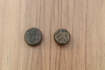 Pair Of Ancient Vintage Antique Coin Kushan Gandhara Heavy Bronze Coin 400 Ad