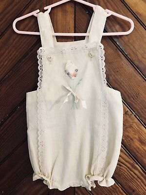 Vintage Baby Romper Size 12-24 Months Pearl/White Lace Rose Embellishment