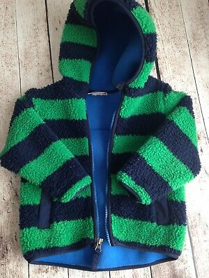 Boys Hanna Andersson Fleece Jacket Green Navy Striped Size 90