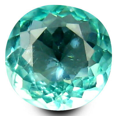 0.57 ct Round Cut (6 mm) Un-Heated Paraiba Blue Color Brazilian Apatite Gemstone