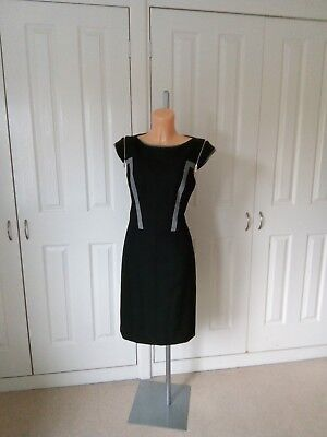 Karen Millen, Smart Black Fitted Dress In Size ...14