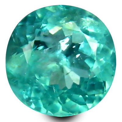 0.68 ct Round Cut (5 mm) Un-Heated Paraiba Blue Color Brazilian Apatite Gemstone