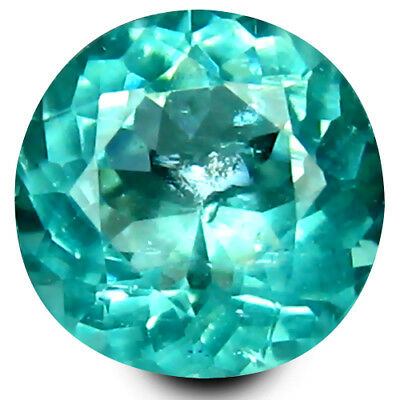 0.58 ct Round Cut (5 mm) Un-Heated Paraiba Blue Color Brazilian Apatite Gemstone