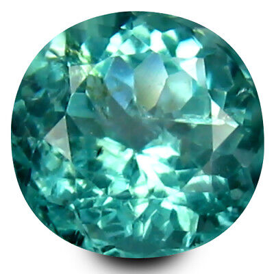 0.56 ct Round Cut (5 mm) Un-Heated Paraiba Blue Color Brazilian Apatite Gemstone