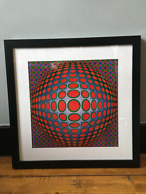 Victor Vasarely gallery framed litho     op art  modernism  seventies  space age