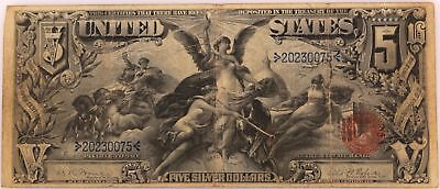 1896 Five Dollar $5 US Large Silver Certificate Red Seal Educational Note Fr 270