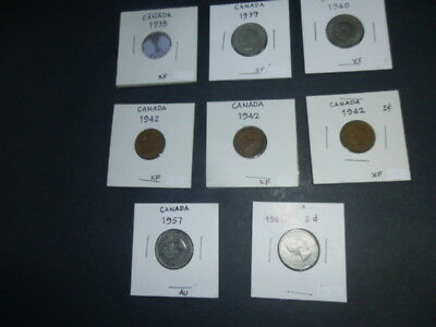 Lot of 8 Vintage/Mixed Canadian Coins / 1938 - 1962