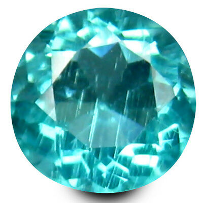 0.48 ct Round Cut (5 mm) Un-Heated Paraiba Blue Color Brazilian Apatite Gemstone