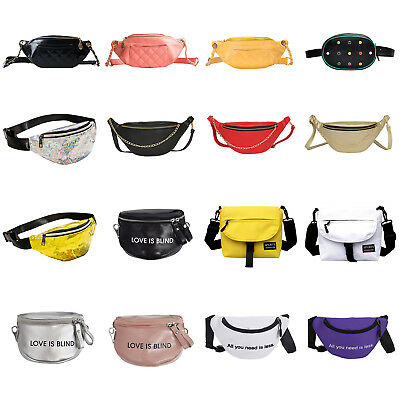 Women PU Chain Hobo Shoulder Waist Fanny Chest Packs Crossbody Belt Bag Totes