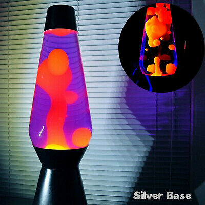 Lava the Original Motion Liquid Night Light Silver Base Orange Color 14.5""