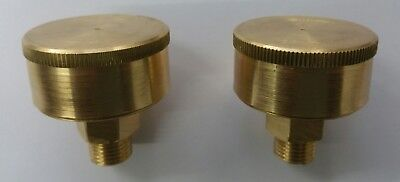 """PAIR 1/4""""BSP BRASS STATIONARY ENGINE STAUFFER SCREW DOWN LUBE GREASE CUPS 25cc"""