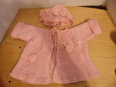 Vintage Pink Crocheted Baby Sweater & Cap With Ties-About 18-24 Months