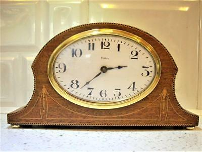 FRENCH OVAL DIAL MAHOGANY  1920s MANTLE CLOCK good working order