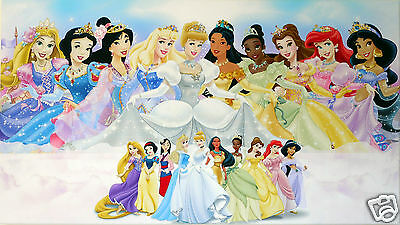 Disney Princesses Canvas  Wall Art Picture   18 X 32 Inch Framed Print