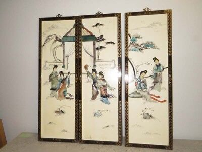 TRIO Vintage Asian White & Black Lacquer Mother of Pearl Wall Panels Art Chinese
