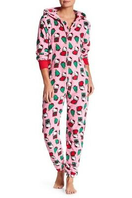New NWT Hello Kitty Christmas Holiday Plush Hooded Jumpsuit size M