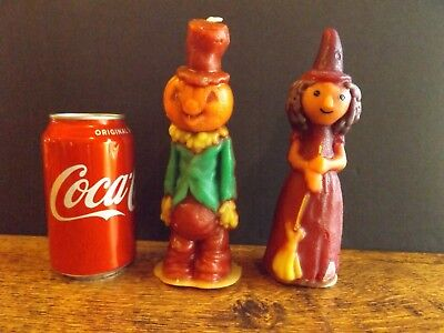 Lot of 2 Vintage GURLEY Halloween Candles Scarecrow / Witch Tall Pair