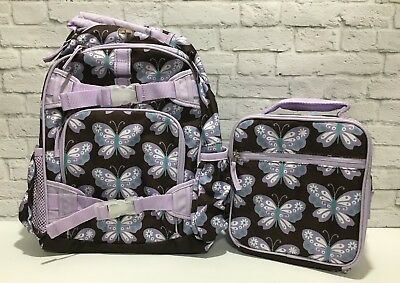 Pottery Barn Kids girls SMALL Lavender Brown BUTTERFLY Backpack & Lunch Box set