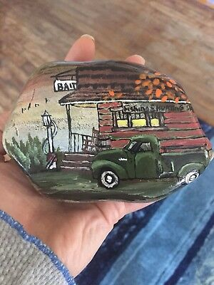 Hand Painted Rock Fall Sceen Old Truck At Store