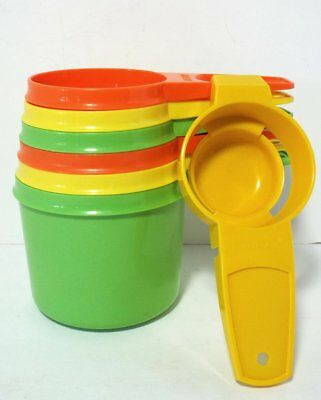 Vintage Tupperware MEASURING CUPS Set 6 Nesting MULTI-COLORED + Egg Seperator