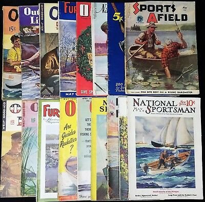 """VINTAGE  """"Outdoor Sports"""" Mags, 1920s-50s, Lot of 17, ALL """"Fishing"""" covers, F-G"""