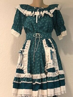 Square Dancing Outfit Top and Skirt pattern green with white lace