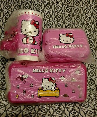 Tupperware® NEW Hello Kitty® pink 3 piece lunch set Tumbler Sandwich Packable