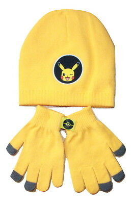 Boys Pokemon Beanie Hat And Gloves Kids Character Winter 2pc Set New 3-10 Years