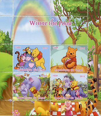 Chad 2015 MNH Winnie the Pooh Bear Eeyore Tigger Piglet 4v M/S Disney Stamps
