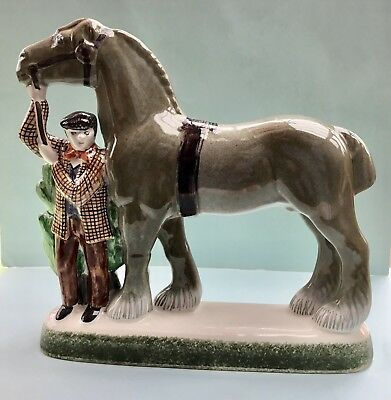 Rare Large Rye Pottery Figural Group ~ Shire Horse and Farmer