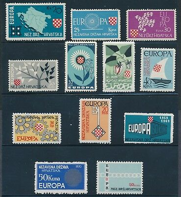 Croatia NDH 1960-71 non-listed Europa stamps NH, 1963 with gum disturbance