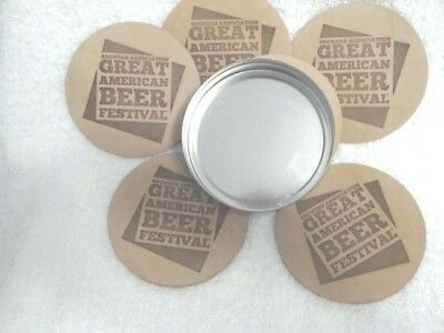 "Set of 6  ""GREAT AMERICAN BEER FESTIVAL"" Denver Leather Coasters Embossed w/case"