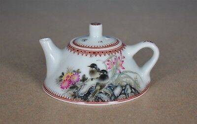 Delicate Antique Chinese Famille Rose Porcelain Teapot Marked Yu Hanqing L8922