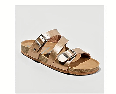 d76450b66bf2 NEW WOMEN S MAD Love Bryanne Multi Strap Footbed Sandals -Gold Size ...