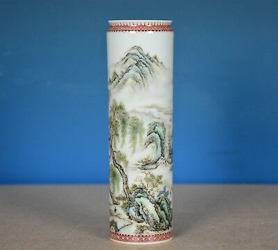 Rare Antique Chinese Famille Rose Porcelain Vase Marked Zou Guojun I6165