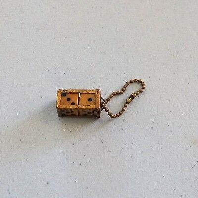 Vintage Crisloid 2 Dice in Cage Pair Holder Pendant Key Chain