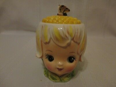 Lefton Thumbelina Honey Bun Pixie Girl With Butterfly Sugar Bowl
