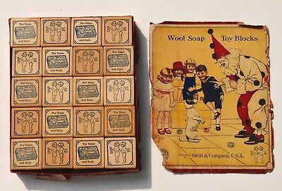 RARE Antique Wood Alphabet Toy Blocks Embossed Early WOOL SOAP Advertising