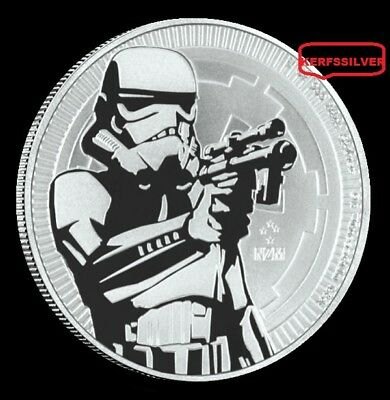 2018  Star Wars Empire Stormtrooper  $2 Niue  {Unc}  1 Oz .999  Fine Silver Coin
