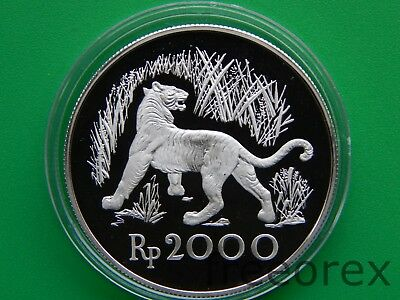 Indonesia 1974 2000 Rp Tiger Proof Silver
