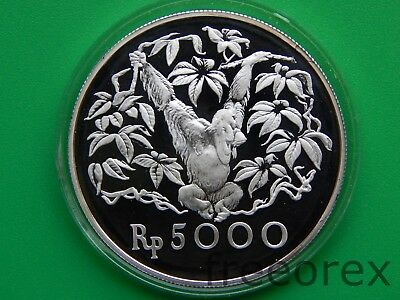 Indonesia 1974 5000 Rp Monkey Proof Silver