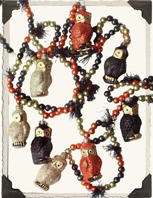 Victorian Trading Co Glitter Owls Halloween Garland Black & Orange Blown Glass
