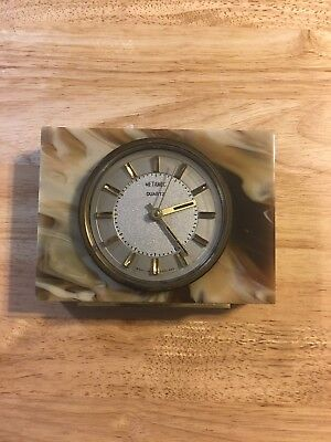 Vintage Metamec Clock Brown Marble