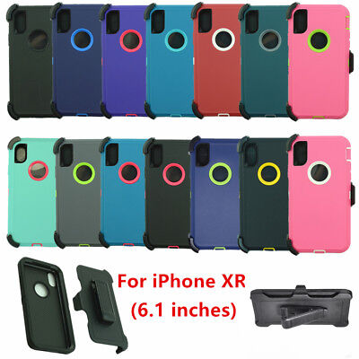 """For Apple iPhone XR (6.1"""" Screen) Defender Case Cover w/ Belt Clip fits Otterbox"""